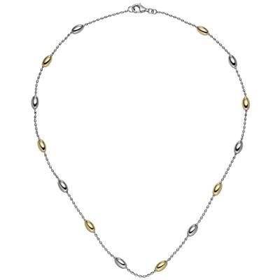 Collier Halskette 925er Sterling Silber bicolor vergoldet 45cm Kette Silberkette