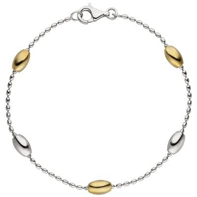Armband 925er Sterling Silber bicolor vergoldet 19cm Silberarmband