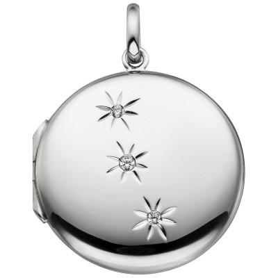 Medaillon rund zum Öffnen für 2 Fotos 925er Sterling Silber 3 Zirkonia