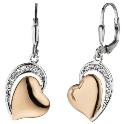 Ohrhänger Herz 925 Silber bicolor vergoldet 18 Zirkonia Ohrringe Boutons