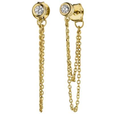 Ohrhänger 925er Sterling Silber gold vergoldet 2 Zirkonia Ohrringe Ohrstecker