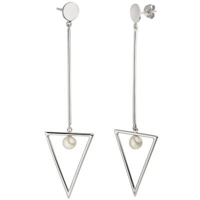 Ohrhänger Dreieck 925er Sterling Silber 2 Süßwasser Perlen Ohrringe Ohrstecker