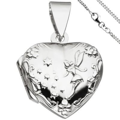 Medaillon Herz Anhänger zum Öffnen für 2 Fotos 925 Silber mit Kette 42cm
