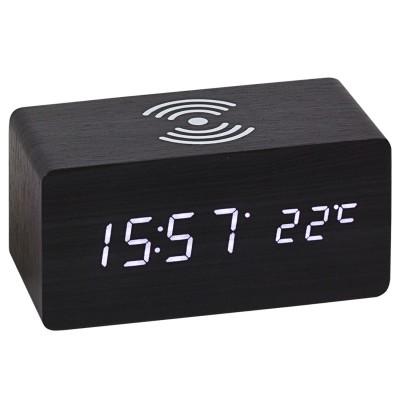 Tischwecker WIRELESS CHARGING schwarz digital Temperatur Datum