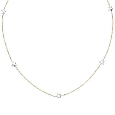 Collier Halskette Stern 375 Gelbgold Weißgold bicolor diamantiert 43cm