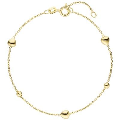 Armband Herz Kugel 925 Sterlingsilber vergoldet 19cm