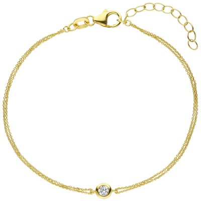 Armband 925 Sterlingsilber vergoldet 1 Zirkonia 19cm