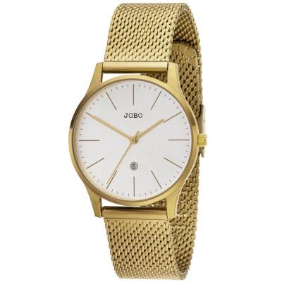 Damen Armbanduhr Quarz Analog Edelstahl vergoldet Datum Damenuhr
