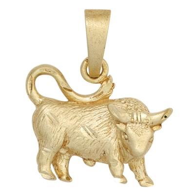 Anhänger Sternzeichen Stier 925 Sterlingsilber vergoldet matt