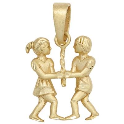 Anhänger Sternzeichen Zwilling 925 Sterlingsilber vergoldet matt
