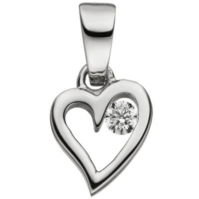 Anhänger Kleines Herz 925 Sterlingsilber 1 Zirkonia Herzanhänger
