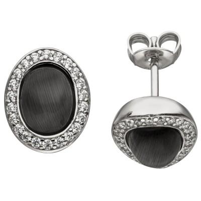 Ohrstecker oval 925 Sterlingsilber 2 Mondstein-Imitationen 44 Zirkonia Ohrringe