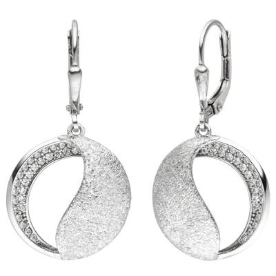 Ohrhänger 925 Silber eismatt 54 Zirkonia Ohrringe Boutons Silberohrringe