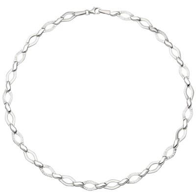 Collier Halskette 925 Silber 144 Zirkonia 45cm Kette Silberkette