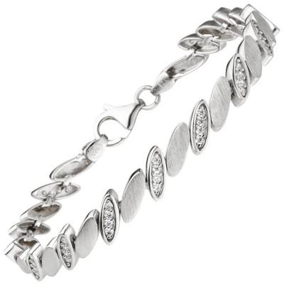 Armband 925 Sterlingsilber matt 52 Zirkonia 19cm Silberarmband