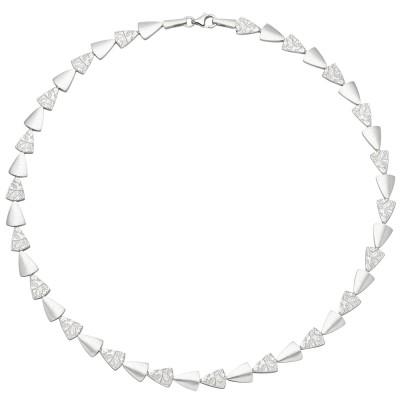 Collier Halskette 925 Sterlingsilber gehämmert 45cm Kette Silberkette