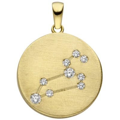 Anhänger Sternzeichen Löwe 333 Gelbgold matt 9 Zirkonia Goldanhänger