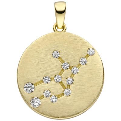 Anhänger Sternzeichen Jungfrau 333 Gelbgold matt 13 Zirkonia Goldanhäng