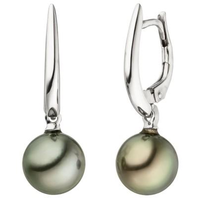 Ohrhänger 585 Weißgold 2 Tahiti Perlen Ohrringe Perlenohrringe