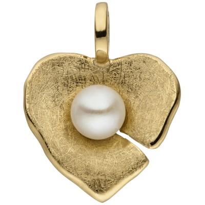 Anhänger Herz 585 Gelbgold eismatt 1 Süßwasser Perle Herzanhänger