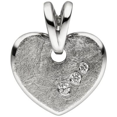 Anhänger Herz 585 Weißgold eismatt 3 Diamanten Brillanten Herzanhänger