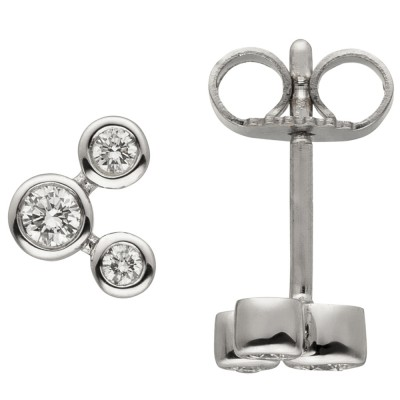 Ohrstecker 585 Weißgold 6 Diamanten Brillanten Ohrringe Goldohrringe