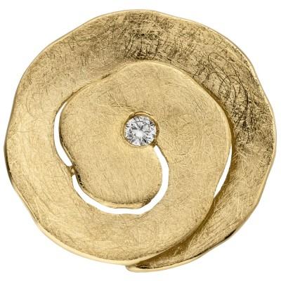 Anhänger 585 Gelbgold eismatt 1 Diamant Brillant Diamantanhänger