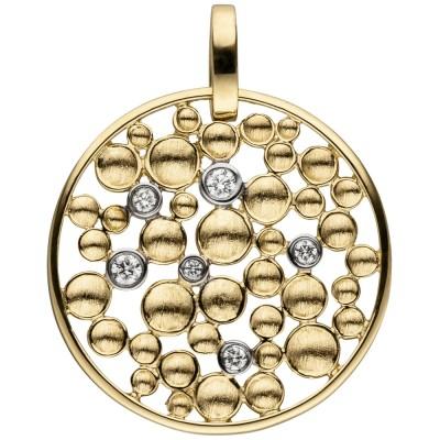 Anhänger rund 585 Gelbgold 6 Diamanten Brillanten Diamantanhänger