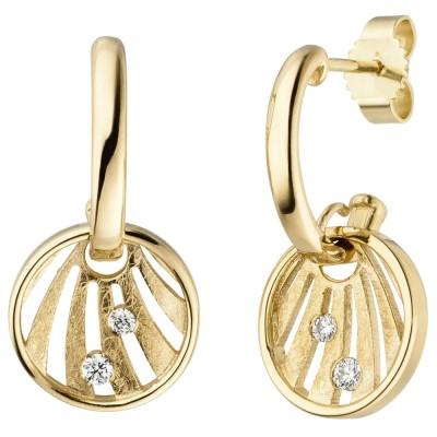 Ohrhänger 585 Gelbgold eismatt 4 Diamanten Brillanten Ohrringe