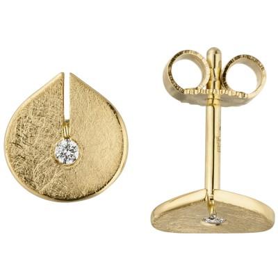 Ohrstecker 585 Gelbgold eismatt 2 Diamanten Brillanten Ohrringe