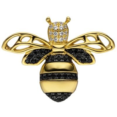 Anhänger Biene 925 Sterlingsilber vergoldet 38 Zirkonia