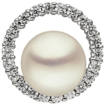 Anhänger 925 Sterlingsilber 1 Süßwasser Perle 22 Zirkonia Perlenanhänger