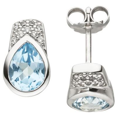 Ohrstecker 925 Silber 2 Blautopase hellblau blau 18 Zirkonia Ohrringe