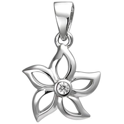 Anhänger Blume 925 Sterlingsilber 1 Zirkonia Silberanhänger