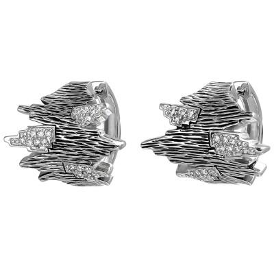 Creolen 925 Sterlingsilber geschwärzt 32 Zirkonia Ohrringe Silbercreolen