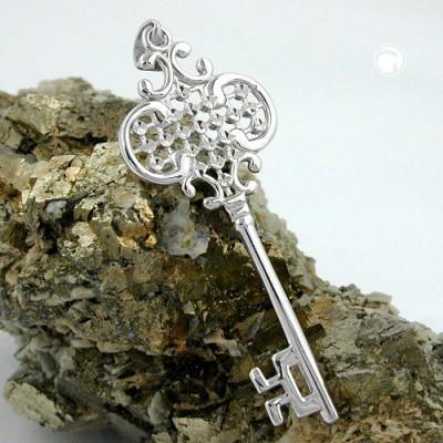 Anhänger Schlüssel rhodiniert 925 Sterlingsilber