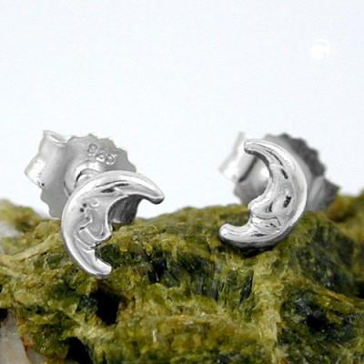 Ohrstecker Mond glänzend 925 Sterlingsilber