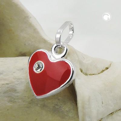 Anhänger rotes Herz mit Glasstein 925 Sterlingsilber