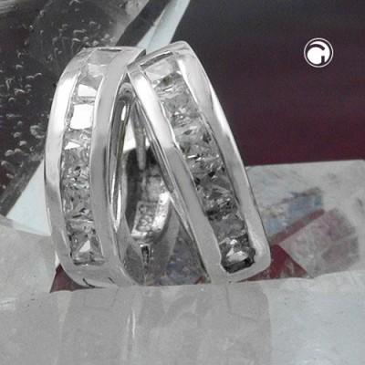 Creolen Ohrringe 13mm Zirkonia weiß 925 Sterlingsilber