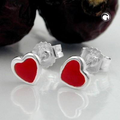 Ohrstecker kleines Herz rot 925 Sterlingsilber