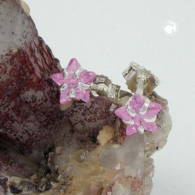 Ohrstecker Sternform Zirkonia-pink 925 Sterlingsilber