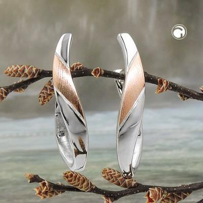 Creolen Ohrringe bicolor geschwungen 925 Sterlingsilber