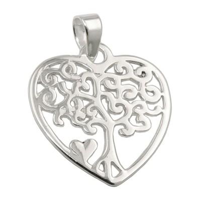 Anhänger Herz mit Lebensbaum glänzend 925 Sterlingsilber
