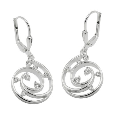 Ohrringe mit Klappbügel Brisur Spirale mit Zirkonias 925 Sterlingsilber